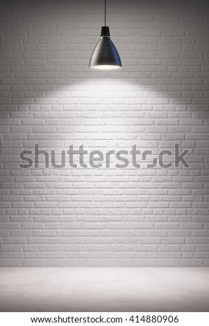 empty room interior with turn on lamp, 3d rendering - stock photo