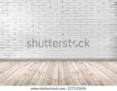 Empty room interior with white brick wall - stock photo