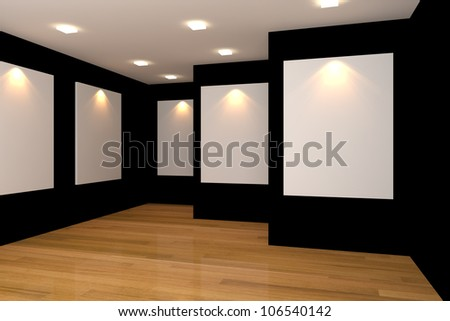 Empty room interior with white canvas on black wall in the gallery. - stock photo