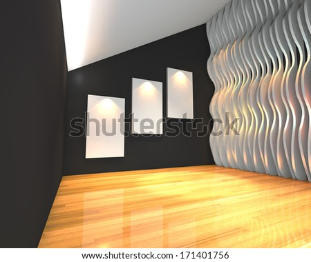 Empty room interior with white canvas on black wave wall in the gallery. - stock photo
