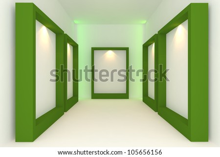 Empty room interior with white canvas on green frame in the gallery. - stock photo