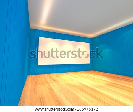 Empty room interior with white screen on abstract blue wall in the meeting room.