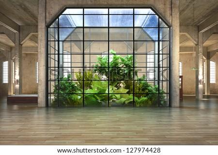 Empty room business residence atrium background stock for Residential atrium