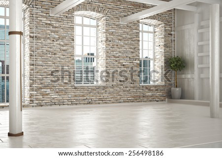 Empty room of business,or residence with brick interior and a city background. Photo realistic 3d illustration. - stock photo