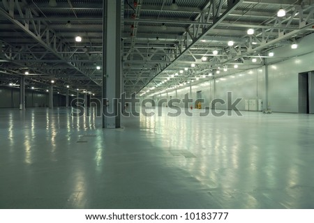 empty room of new storehouse - stock photo