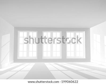 Empty room of white color - stock photo