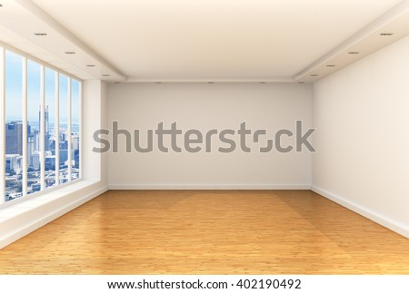 Empty room, panoramic windows and parquet floor in a spacious room overlooking the city. 3d illustration - stock photo