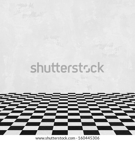 empty room, white wall and squared floor