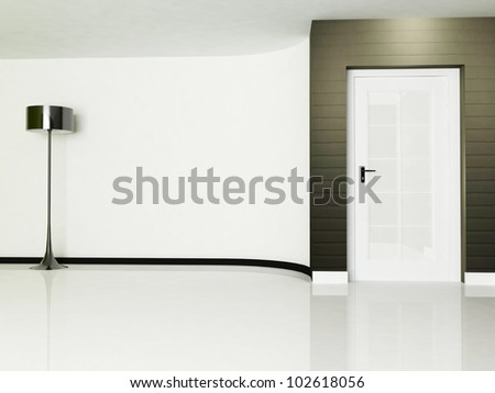 empty room with a door and a lamp, minimalism - stock photo