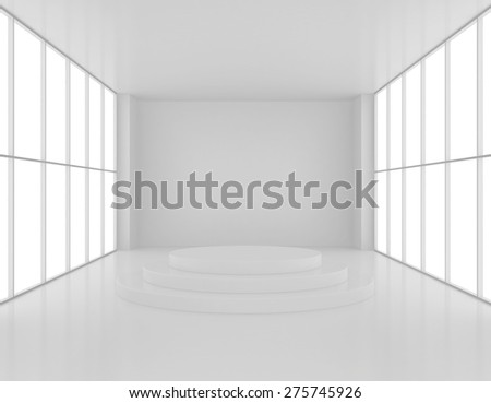 Empty room with a pedestal and large windows on the sides. - stock photo