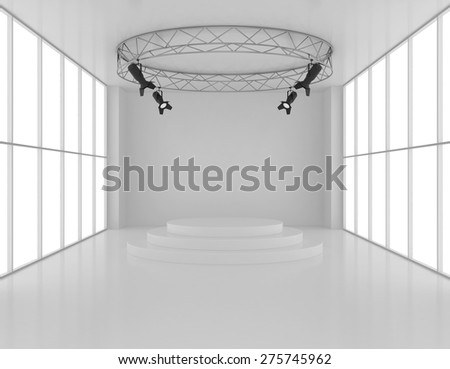 Empty room with a round pedestal and spotlights top. - stock photo