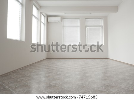 Empty room with air-condition in gray