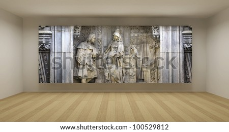 Empty room with ancient bas-relief picture, art gallery concept, 3d illustration - stock photo