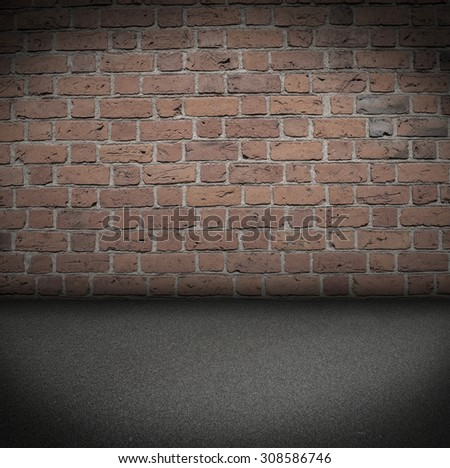 Empty Room With ashalt Floor and old brick Wall grungy Interior - stock photo