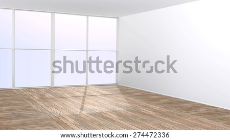 Empty room with big window and wooden floor - 3D rendered interior with copy space. - stock photo