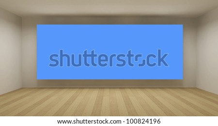 Empty room with blue chroma key backdrop, 3d art concept, clean space - stock photo