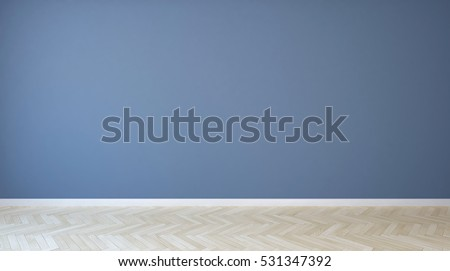 empty room with blue painted wall and wooden floor very useful to retouch