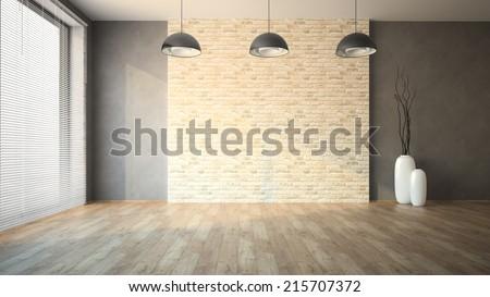 Empty room with brick wall - stock photo