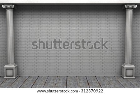 Empty Room With Brick Wall And Classic Columns - stock photo