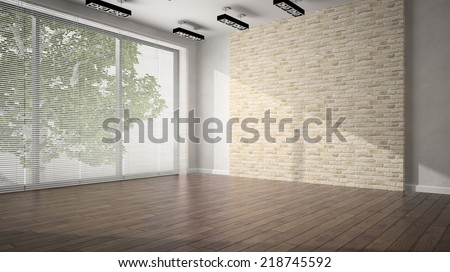 Empty room with brick wall and dark floor - stock photo
