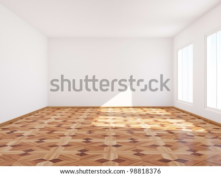 Empty room with classic parquet. - stock photo