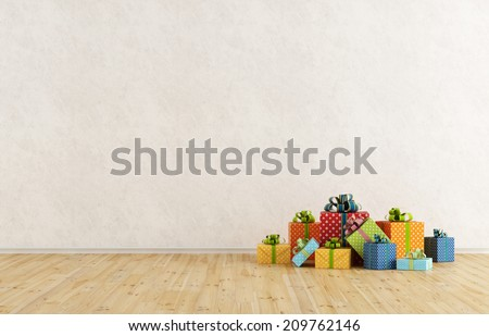 Empty room with  colorful gift on wooden floor - stock photo