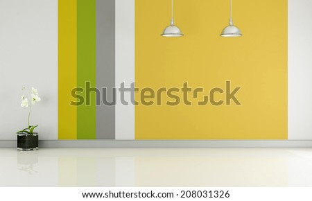 Empty room with colorful wallpaper and white floor - rendering - stock photo