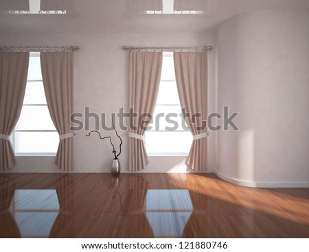 empty room with curtains - stock photo