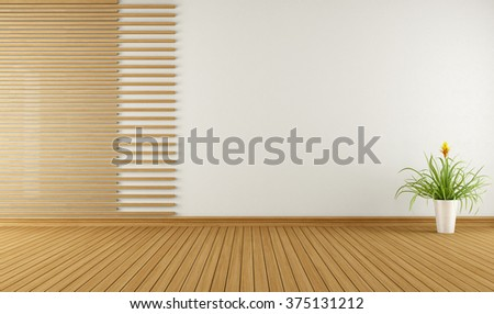 Empty room with decorative elements in wood - 3D Rendering - stock photo