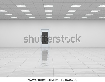 empty room with door and reflection floor - stock photo