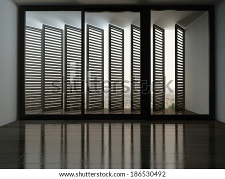 Empty room with fantastic window with blinds - stock photo