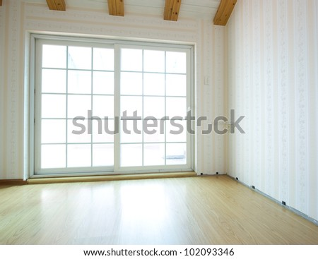 empty room with glass door. - stock photo