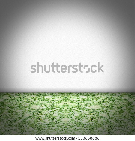 Empty room with green marble floor and white structured wallpaper - stock photo