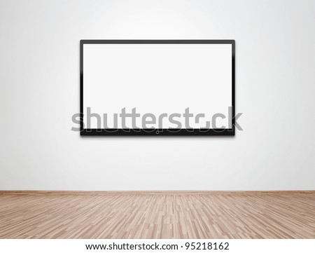 Empty room with HD TV at the wall, clipping path for the screen included - stock photo