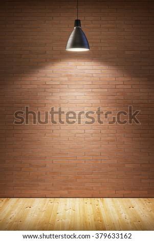 empty room with lamp - stock photo