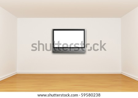 empty room with LCD tv - stock photo