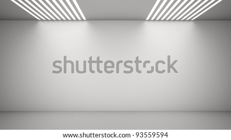 Empty room with light coming from above through vents - stock photo