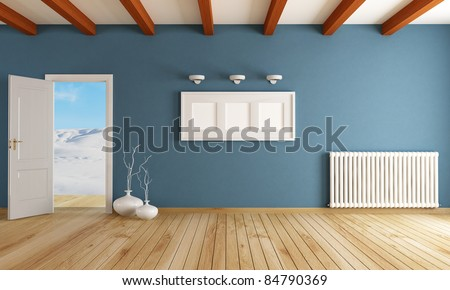 empty room with open door in a mountain home - rendering - the image on background is a my photo- - stock photo
