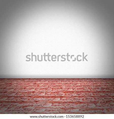 Empty room with red marble floor and white structured wallpaper - stock photo