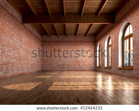 Empty Room With Rustic Finishes Of A Residential Interior Or Office Space 3d Illustration