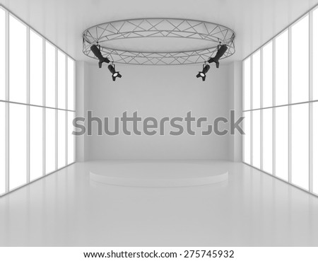 Empty room with spotlights on top and pedestal. - stock photo