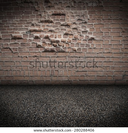 Empty Room With stone Floor and old brick Wall grungy Interior - stock photo
