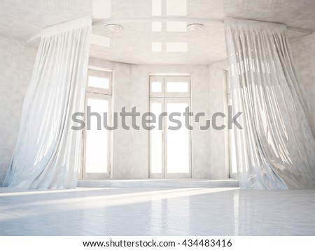 empty room with the big windows, 3d rendering
