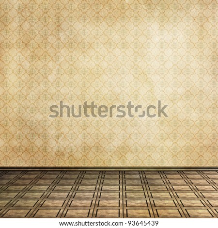 empty room with tile floor and old wallpaper - stock photo