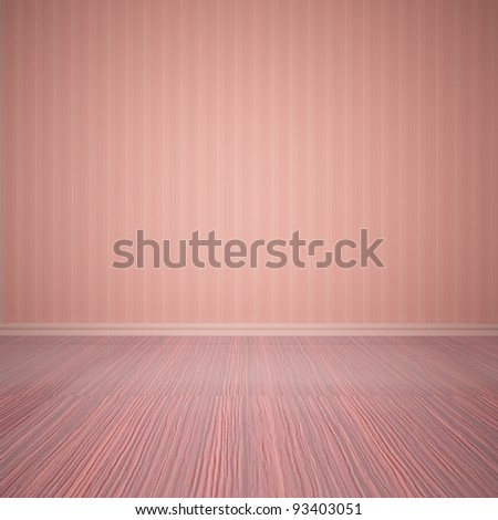 Empty room with wall and wooden floor - stock photo