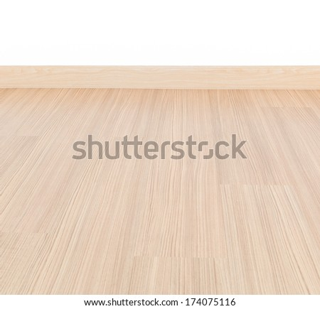 Empty room with wall and wooden floor laminate background - stock photo