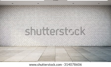 empty room with white brick wall and tile floor  - stock photo