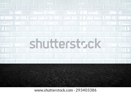 Empty room with white ceramic tile wall and stone floor, Background for display of product