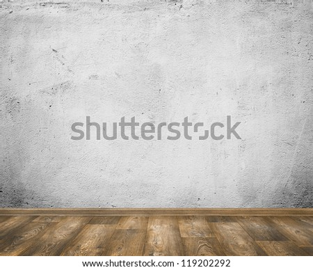 Empty room with white wall and wooden floor interior background - stock photo