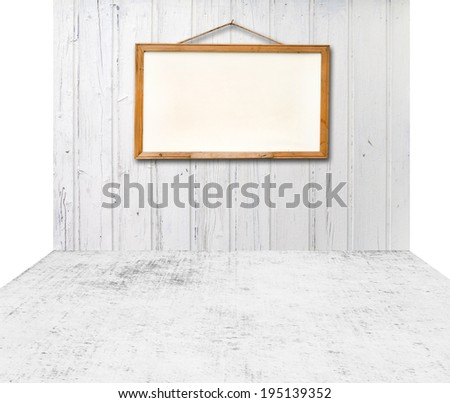 Empty room with white wooden wall texture background and white board. - stock photo